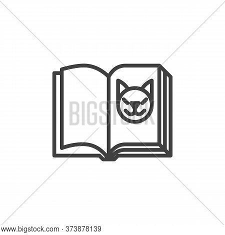 Zoology Book Line Icon. Linear Style Sign For Mobile Concept And Web Design. Open Book Page With Cat