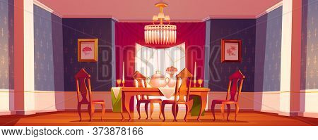 Dining Room Interior In Classic Victorian Style With Feast Table, Chairs And Chandelier. Vector Cart