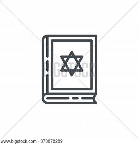 Jewish Bible Book Line Icon. Linear Style Sign For Mobile Concept And Web Design. Hebrew Bible With