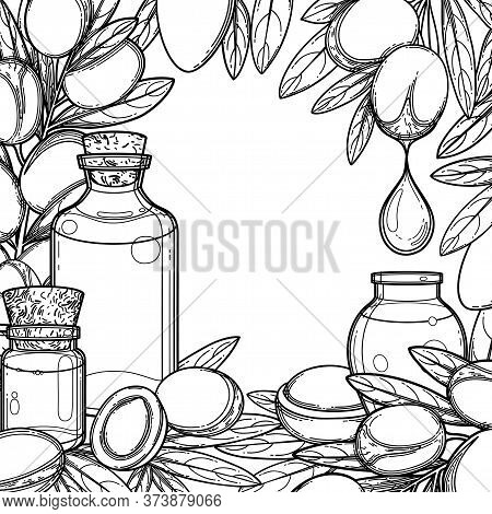 Graphic Oil Bottles Surrounded By Argan Plants.