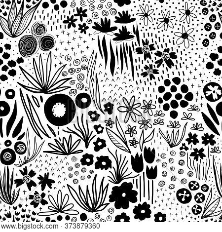 Monochrome Flower Field Pastel Black On White Seamless Vector Pattern. Repeating Liberty Doodle Flow