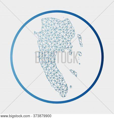 Ko Lanta Icon. Network Map Of The Island. Round Ko Lanta Sign With Gradient Ring. Technology, Intern