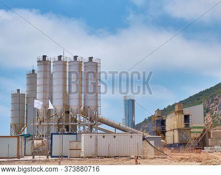 Concrete Batching Plant Silos On The Construction Site