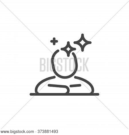 Thin Outline Icon Human And Mind. Such Line Sign As Logical Thinking, Think Process, Phantasy Or Ima