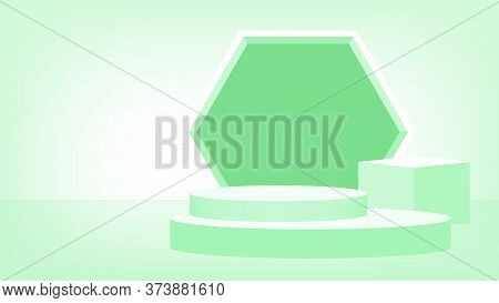 Pedestal Award 3d Green Pastel Soft, Podium Stage Show For Victory Champion Position, Pedestal Circl