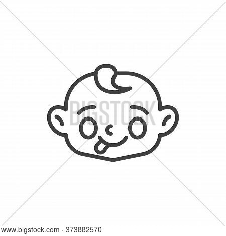 Baby Face Showing Tongue Line Icon. Linear Style Sign For Mobile Concept And Web Design. Child Stuck