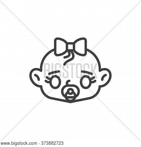 Baby Girl With Pacifier Line Icon. Linear Style Sign For Mobile Concept And Web Design. Baby Girl Su