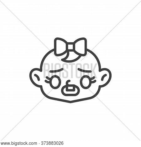 Frowning Baby Face With Open Mouth Line Icon. Linear Style Sign For Mobile Concept And Web Design. G