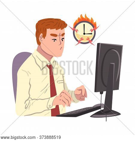 Businessman Working Overtime At Deadline, Overloaded Male Office Worker Sitting At Workplace In Offi