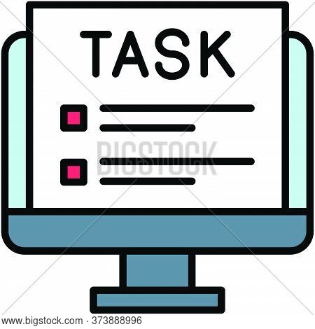 Task, Telecommuting Or Remote Work Related Icon, Vector Illustration