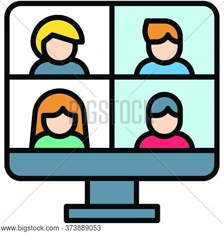 Video Conference, Telecommuting Or Remote Work Related Icon, Vector Illustration