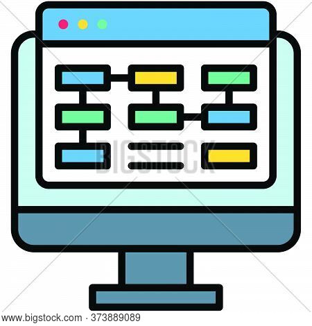 Planning, Telecommuting Or Remote Work Related Icon, Vector Illustration