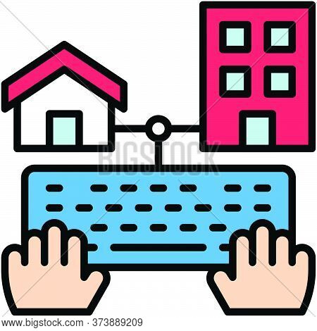 Telecommuting Or Remote Work Related Icon, Vector Illustration