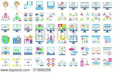 Telecommuting Or Remote Work Related Flat Icon Set, Vector Illustration