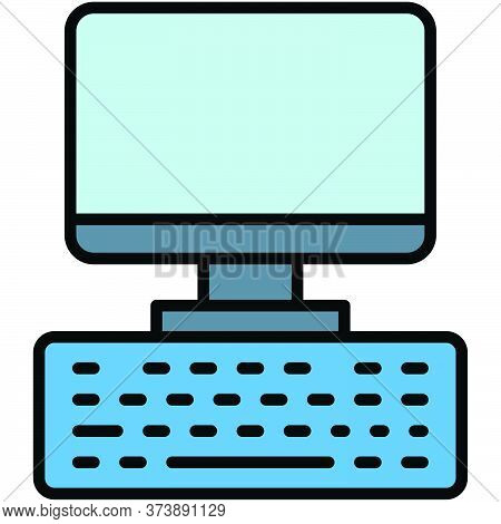 Computer And Keyboard, Telecommuting Or  Remote Work Related Icon