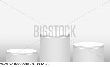 Podium Pedestal Cylinder 3 Steps For Cosmetics Showcase, Podium Circle Stage White Grey Color, Copy