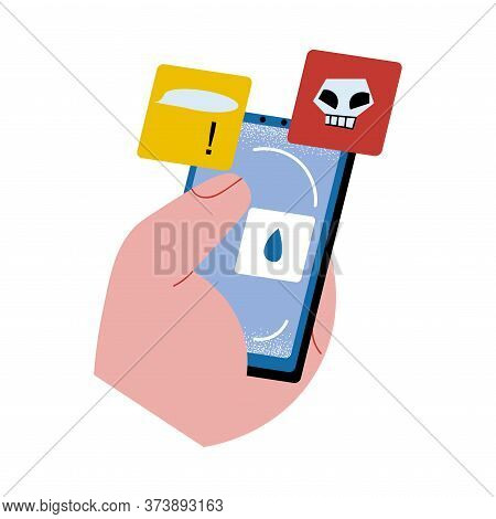 Hand Holding Smartphone With Warning Bullying Information On Screen