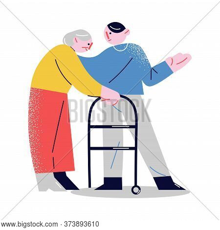 Young Man Helping Elderly Woman With Walkers To Walk