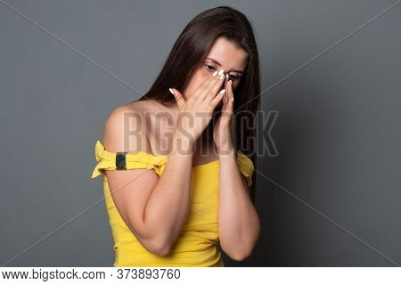 Sad Crying Woman. Beautiful Young Woman In A Bright Dress Is Crying.