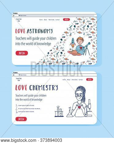 Two Vector Website Templates For Online Education Project. Doodle Concept Illustration For Banner. A