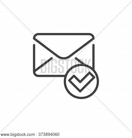 Confirmed Message Line Icon. Received Mail Linear Style Sign For Mobile Concept And Web Design. Enve