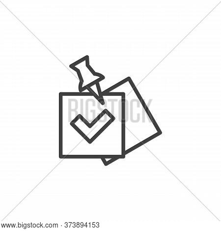 Check List With Push Pin Line Icon. Task Done Linear Style Sign For Mobile Concept And Web Design. N