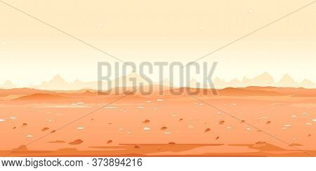 Martian Desert Game Background Tillable Horizontally, Orange Sand Hills With Stones On A Deserted Pl
