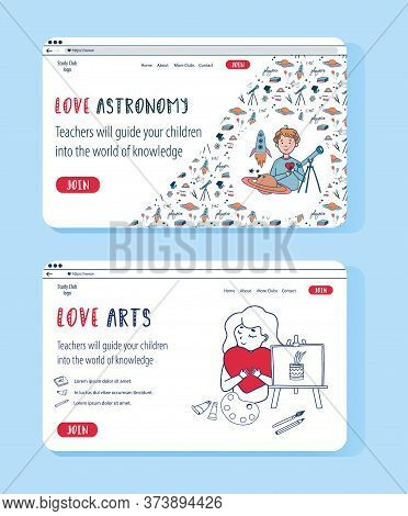 Vector Doodle Set Of Website Templates For Education Online. Creative Arts And Astrophysics For Kids