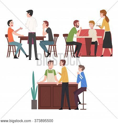 People Drinking Coffee And Relaxing At Coffeehouse Or Cafe Set, Restaurant Employees Serving Visitor