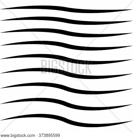 Set Of Curved Calligraphic Line Strips, Vector Curl Tape, As A Road Element Calligraphy Elegantly Cu