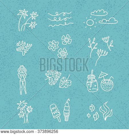 Line Vector Hand Drawn Doodle Cartoon Set Of Summer Time Season Objects And Symbols On Blie Textured