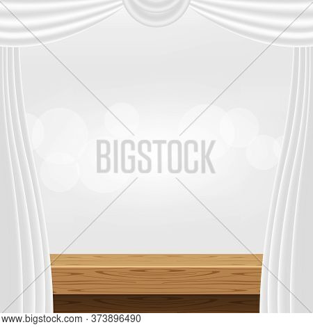 Tabletop Front View And Luxury Grey Curtains For Advertise Product Display, Wooden Plank Top Table D