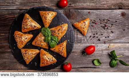 Traditional Indian Cuisine Samosas Baked Pastry With Savoury Filling, Popular Indian Snacks With Spi