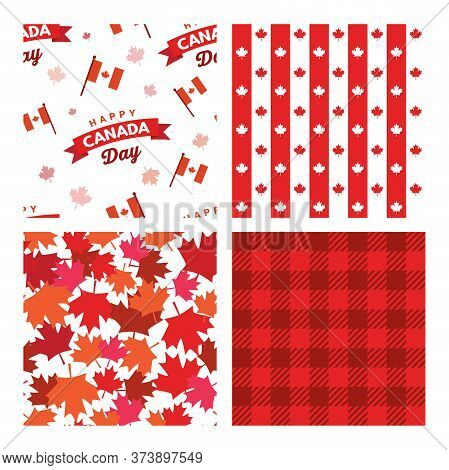 Canada Seamless Patterns. Canada Independence Day. 1st Of July. Happy Canada Day Greeting Card. Cele