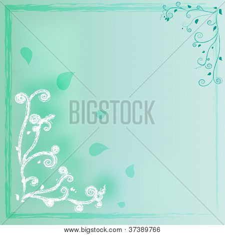 Curve green background with leaves and frame poster