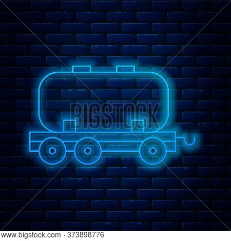 Glowing Neon Line Oil Railway Cistern Icon Isolated On Brick Wall Background. Train Oil Tank On Rail