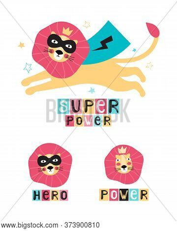 Lion Super Hero In A Black Mask And Cape. Leo Face In A Crown. Hand Drawn Vector Illustration With L