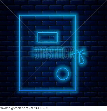 Glowing Neon Line Lawsuit Paper Icon Isolated On Brick Wall Background. Vector Illustration