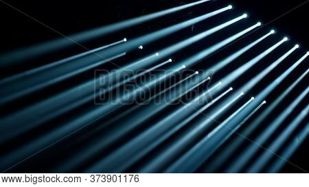 Disco Lights. Scene, Stage Light With Colored Spotlights. Disco Light Show, Stage Lights With Laser