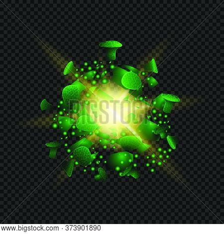 Victory Over Coronavirus, Green Destroyed Coronavirus Molecule Isolated On Black Background For Your