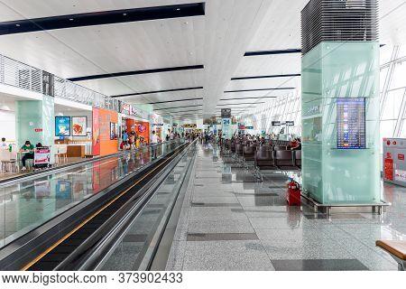 Hanoi, Vietnam - May 29, 2018 : Passenger Walking In Departure Gate Of Noi Bai International Airport