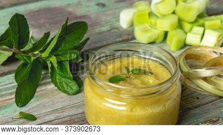 Rhubarb Jam In A Glass Jar. Jam In A Glass Jar. Homemade Jam