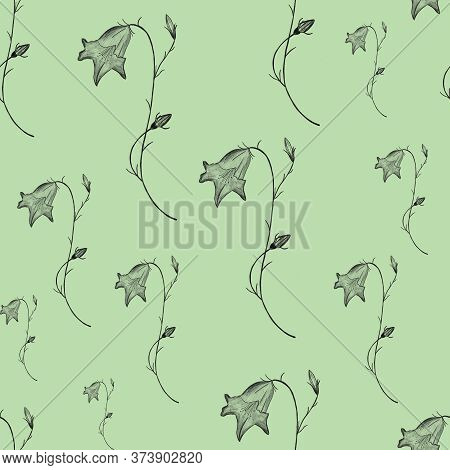 Seamless Pencil Floral Pattern On Green Background. Black Bellflowers Hand Drawing. Linen, Print, Pa