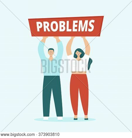 Adult Man And Woman, Husband And Wife Are Having Serious Problems. Concept Of Family Quarrels, Confl