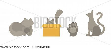 Set Of Vector Cats Silhouettes In Flat Style. Isolated On A White Background Cats In Different Poses