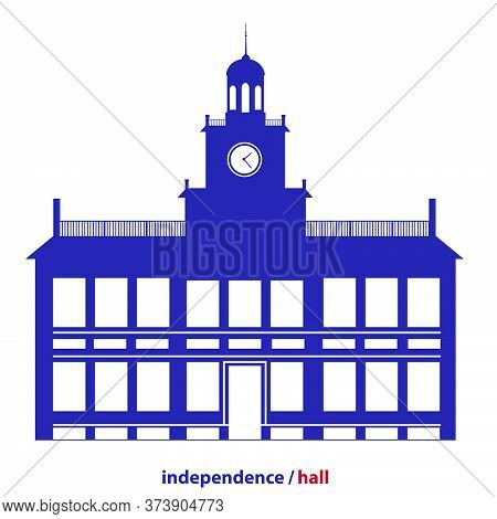 Independence Hall. Flat Icon On White Background. Vector Illustration.