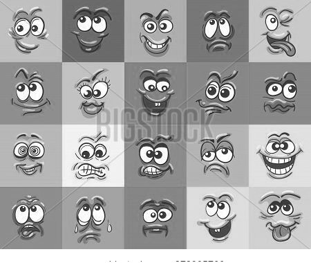 Cartoon Face Expressions. Happy Surprised Faces, Doodle Characters Mouth And Eyes. Face Doodle Set.