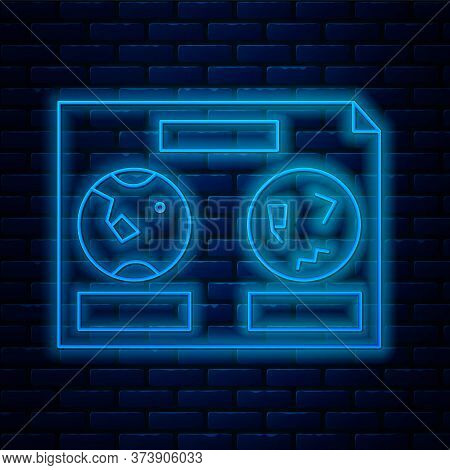 Glowing Neon Line Celestial Map Of The Night Sky Icon Isolated On Brick Wall Background. Starry Hemi