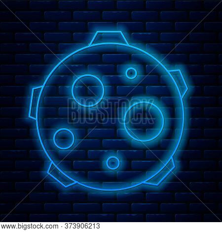 Glowing Neon Line Ufo Abducts Cow Icon Isolated On Brick Wall Background. Flying Saucer. Alien Space