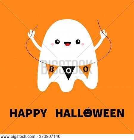 Flying Ghost Spirit Holding Bunting Flag Boo. Happy Halloween. Cute Cartoon Kawaii Spooky Character.